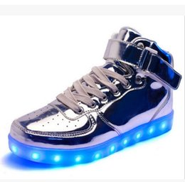 Wholesale Buckle Board - Led Shoes Man USB Light Up Unisex Sneakers Lovers For Adults Boys Casual Students Sports Glowing With Fashion High Top Lights Board Shoe