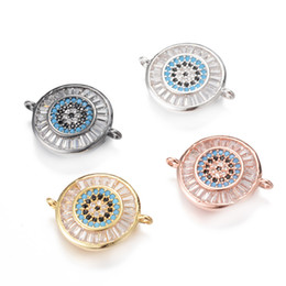 Wholesale Evil Eye Charms Round - 4 Color Evil Eye Charms Micro Pave Charm Turquoise Colors Jewelry Flat Round Plated with Zirconia, ICSP139, 19.9*15mm