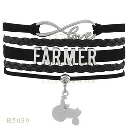 Wholesale Tractor Charms - Custom-Infinity Love Christmas Gifts Bracelet Black Women Leather Custom Bracelet Christmas Infinity Love Farmer Tractor Charm Bracelets