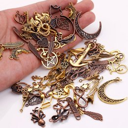 Wholesale Metal Handmade Jewelry - Wholesale- Metal Mixed Charms for Jewelry Making DIY Handmade Crafts Vintage Pendant Charms 100pcs lot C5089