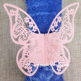 Wholesale Table Napkins Free Shipping - 50pcs lot Free Shipping Laser Cut Napkin Ring Paper Wedding Decorations Beautiful Butterfly design Towel Buckle for Party Table Decoration