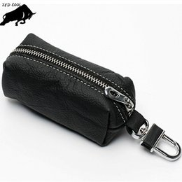 Wholesale purse buckles - ZYD-COOL Women And Men Genuine Leather Key Wallets Zipper Key Purse Unisex Car Holders Buckle Key Case Housekeeper Holder