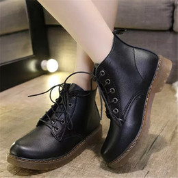 Wholesale Oxford Lace Up Shoes Girl - Wholesale-Fashion Womens Ankle Boots Shoes For Girls New Womens Oxford Flat Shoes Faux Leather High Quality Womens Martin Shoes