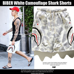 Wholesale Drawstring Fleece Shorts - New White Camouflage Shark Shorts Couple Beach Casual Men Women Pants Hot BIBER Men's Shark Head Print Camouflage Pants Shorts