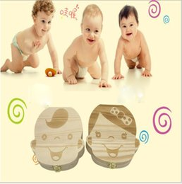 Wholesale Girl Tin Box - Baby boy girls Milk Tooth Collection Memorial Box Cute and Beautiful Wooden Box Tooth storage box