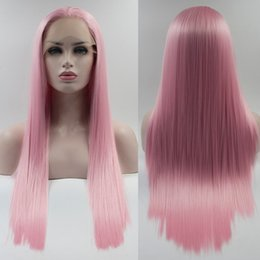 Wholesale Light Brown Long Wig Cosplay - Resika Direct Factory Price Cosplay Pink Straight Synthetic Lace Front Wigs For Women High Temperature Long Hairstyles Natural Afro Wigs