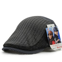 Wholesale Winter Wool Korean Male - Wholesale-Male Knitting Ivy Hats Man Autumn And Winter Wool Newsboy Korean Peaked Cap Lady Fashion Patch Beret Caps