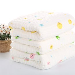 Wholesale Natural Cotton Towel - 105*105 cm Cartoon Printed Washcloths Baby Towels Natural Organic Cotton Yarn Baby Wipes and Soft Multi- layers Nursing Towel