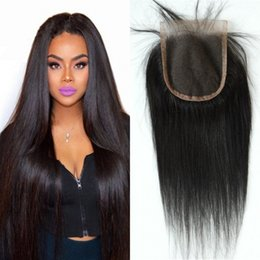 Wholesale Virgin Cambodian Lace Closure - Cambodian lace closure 4*4 virgin hair closure Straight middle 3 free part 3 options 8 to 22 inch FDSHINE HAIR
