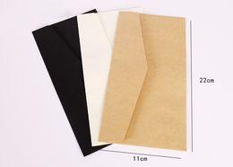 Wholesale European Invitations - Wholesale- 100PCS lot 11*22cm Kraft Envelopes European Classical Retro Paper Envelope Blank Envelops Wedding Party Invitation Card