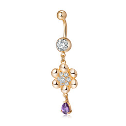 Wholesale Crystal Flower Navel Belly Bar - 5 Colors New Surgical Steel Navel Ring Crystal AAA CZ Belly Button Flower Navel Bar Ring Body Jewelry Piercing for Girls Women BR-200