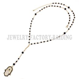 Wholesale Turkish Link Gold - Wholesale-Free shipping!New style! black beads,turkish gold chain evil eye hamsa big charm necklace