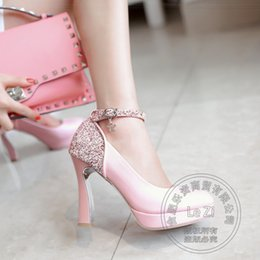 Wholesale Heel Pumps China - Wedding Soft Leather Glitter Chunky High Heel Dress Shoes China Ankle Strap Heels Thick Charms Pink Less Platform Pumps Prom