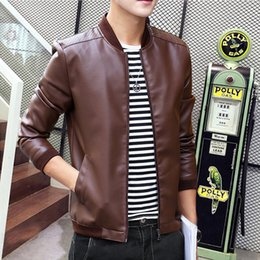 Wholesale Biker Jacket Faux Leather - Wholesale- MCCKLE Fashion Mens PU Leather Jacket Coat Slim Fit Motorcycle For Man Stand Collar Fashion Leather Biker Parka Outwear