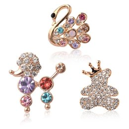 Wholesale Dog Swan - Wholesale- Fashion Jewelry Adorable Animal Pet Dog Brooch Pin Shaped Cute Crystal Swan Rhinestone Poodle Mini Bear Blouse Collar Clip