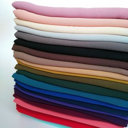 Wholesale Headbands Hijab - High quality plain bubble chiffon scarf solid color shawls headband beach popular hijab summer muslim scarves scarf