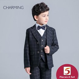 Wholesale China Brand Suits - Brand New boys black suit British style Long sleeve suit Plaid fabric boys 3 piece suit discount promotion From china suppliers