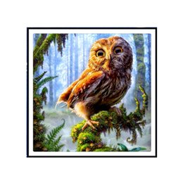 Wholesale Wall Sticker Wholesale China - DIY Diamond Painting Forest eagle Needlework new year xmas gift wall sticker for room 35X35CM Embroidery Kit DIY Counted Cross Stitch