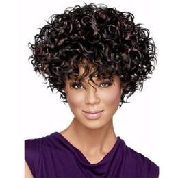 Pelo ondulado flequillo peinados online-XT798 Popular Natural Black Beyonce's Hairstyle Women Hair levemente ondulado 14 pulgadas Pelucas cortas y rizadas Lado completo Flequillo Sintético Ondulado medio