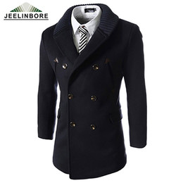 Wholesale Long Fabric Winter Coat - Wholesale- 2016Autumn Winter Men Trench Coat Double Breasted Knitted Collar Stitching Trench Coat Woolen Cloth Fabric Long Slim Trench Coat
