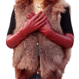 Wholesale Wholesale Long Leather Gloves - Wholesale- 2 Colors Faux Long Leather Gloves Fashion Women Gloves Warm Outdoors Long Design Sexy Gloves