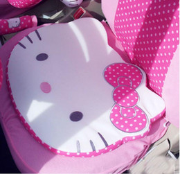 Wholesale Pink Car Wheel Cover - Hello Kitty Styling Car Accessories Car Interior Gears Covers seat belts Waist cushion car steering wheel cover cushion-red