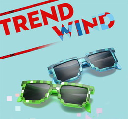 Wholesale Minecraft Glasses - 2017 Deal with it Boys Girls Minecraft Glasses 8 bit Pixel kids Sunglasses Female Male Mosaic Sun Glasses kids Glasses for party vacation