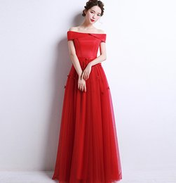 Wholesale Red Wedding Evening Dress - Bride evening dress 2017 new spring big red long thin wedding dress sister skirt, eve