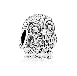 Wholesale pandora charms owl - Hot Sale European Silver Plated Big Hole Charms Spacer Loose Beads Fit Pandora Bracelets 925 Jewelry Night Owl for Sale Friend Girls Mom DIY