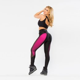 Wholesale High Waist Leggings Elastic - Wholesale- NEW Sexy Womens Fashion Sportswear Pants Elastic High Waist Fitness Leggings Mesh Patchwork Black Pink Hit Color Workout Leggins