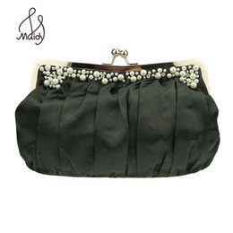 Wholesale Embroidered Bags Handmade - Wholesale- Women Ms. Silk Pure Handmade Fabric Wrinkling Manual Embroider Bead One Shoulder Wedding Banquet Crystal Clutch Evening Bags