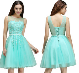 Wholesale Mint Green Short Cocktail Dresses - 2018 New Hot Mint Green Tulle Short Homecoming Dresses Sheer Jewel Neck A Line Knee Length Cocktail Dresses with Lace-up Back CPS662