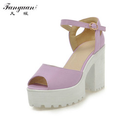 Wholesale Sexy Platform Shoes For Sale - Wholesale- Drop Shipping Thick High Heels Platform Summer Dress Shoes For Women Sexy Casual Peep Toe Sandal Hot Sale
