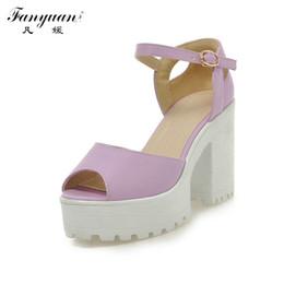 Wholesale Sexy Peep Toe Flat Sandal - Wholesale- Drop Shipping Thick High Heels Platform Summer Dress Shoes For Women Sexy Casual Peep Toe Sandal Hot Sale