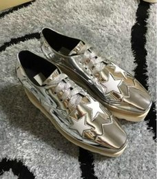 Wholesale Women Fashion Wedge Sneakers - 2017 Hot Sale! Stella Mccartney Shoes Top Quality Genuine Leather Women Fashion Platform Wedge Platform Oxfords Boost Sneakers