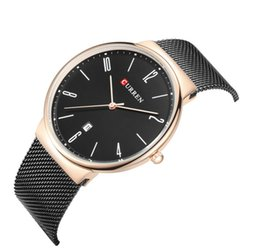 Wholesale Charm Watches Gold - Fashion brand watches men casual charm calendar quartz wrist watch leather band waterproof 30m Steel mesh with ultra-thin