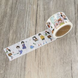 Wholesale Cute Washi Tape - Wholesale- 2016 Cute Girl Playing Sketch Masking Tapes DIY Washi Tape Scrapbooking Sticker Decorative Stickers Party Favors