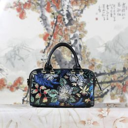 Wholesale Hot Sell Newest Classic Fashion Style chinese style Lady Genuine Leather top handle bag hand painting