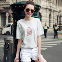 Wholesale Candy Color Shirts For Women - Wholesale- New Arrival Fashion Summer Candy Color Short Sleeve Women T-Shirt Clothing For Women O-neck Loose Women Top Tees Casual Shirts
