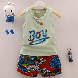 Wholesale Sleeveless T Shirts For Babies - 2017 summer children's suit clothing baby Cotton sleeveless T-shirt + shorts 2 pieces sets children's set for 6M-3 years kids