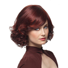 highlighting short hair Coupons - no lace Daily wigs Cosplay Hair Peruca Pelucas New Stylish Synthetic Wigs Wine Red Short Curly Hair With Bangs Highlights Wig For Women Glam