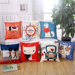 Wholesale Custom Book Printing - custom 45cm*45cm A book of anime cat linen  cotton pillow cover sofa pillow case car seat cushion cover decorative pilllows