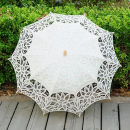 Wholesale Wholesale Embroidery Wedding Lace Fabric - Lace Parasol Umbrella Handmade Wedding Umbrellas Lace Cotton Embroidery Bridal Umbrella Embroidered Lace Umbrellas 3 Colors OOA2889