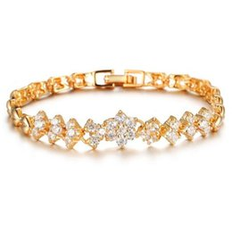 Wholesale Gold Bracelets For Boys - 2016 New New Arrical Classic Style Fashion Woman Jewelry gold-plated Zircon Personality female Bracelets and Bangles For Lady GKS429