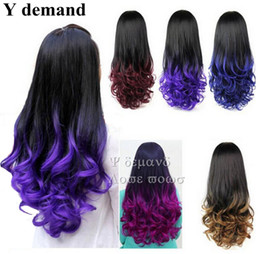 Wholesale Wig Light Blue Long - Fashion Long Curly Ombre Wig Fall Two Tone Hair Fall 3 4 Half Wig For Women With More Colors Option Modern In Stock