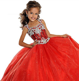Wholesale Dress Christmas 12 - Sequins Straps Christmas Little Girls Pageant Dresses Custom Made Beads 2017 Fashion Princess Kids Children Party Gowns Flower Girl Dresses