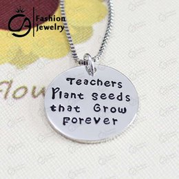 Wholesale Plant Quotes - Trend Teacher Plant seeds that Grow forever Hand Stamped Quote Pendant Charm Necklace Retirement Gift Teacher 20Pcs lot LN1147
