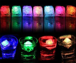 Wholesale Led Ice Cubes Lights Wholesale - Led Lights Polychrome Flash Ice Liquid Sensor Glowing Ice Cube Submersible Lights Decor Light Up Bar Club Wedding Party