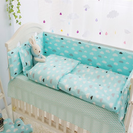 Wholesale Baby Cot Quilts - Green Clouds 4-10 Pcs Girls Boys Baby Bedding Set Cot Sets 120*60CM Crib Sheet Set Baby Bed Bumper Pillow Quilt Cover+Filling