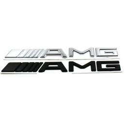 Wholesale B E - 3D ABS Car Logo 3M AMG Letter Badge Sticker For Mercedes MB CL GL SL ML A SLK B C E S Class Silver Black High quality